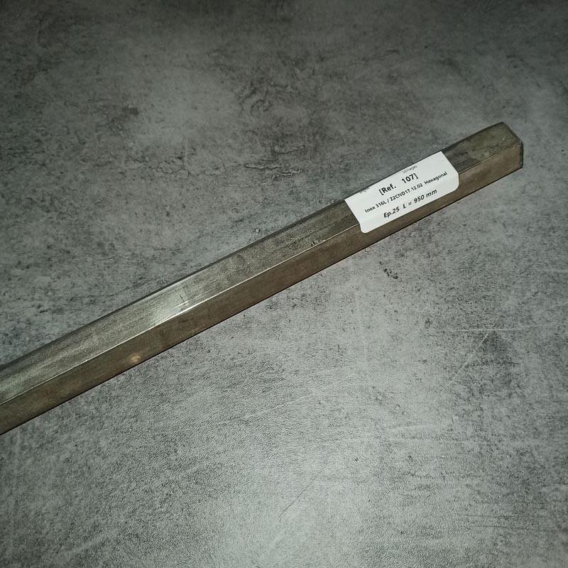 Inox 316L / Z2CND17.12.02 Ep.25 L.950 mm