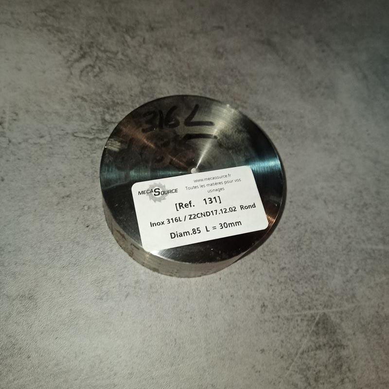 Inox 316L / Z2CND17.12.02 D.85 L.30mm